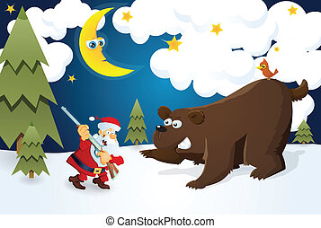 Santa The Hunter meets bear.