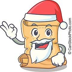 Santa treasure map isolated with the cartoon