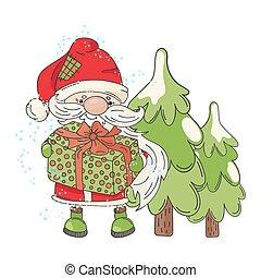 SANTA TREE Merry Christmas Cartoon Vector Illustration Set