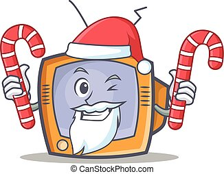 Santa TV character cartoon object with candy