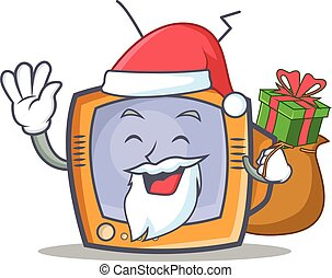 Santa TV character cartoon object with gift