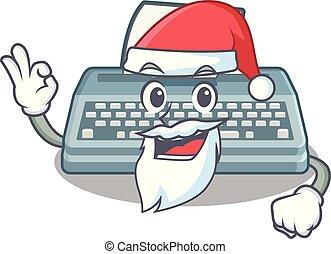 Santa typewriter in the a mascot closet