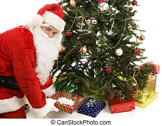 Santa Under the Tree - Santa Claus puts presents under the...