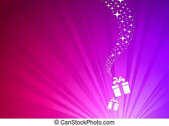 santa, vektor, -, abbildung, geschenk