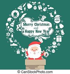 Santa Vintage Christmas card. Celebration background