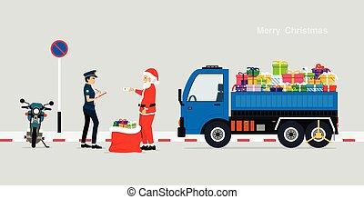 Santa gives police a driving license due to traffic violations.