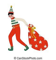 santa, voll, ziehen, helfer, reizend, claus, junge, weihnachtshelfer, zeichen, abbildung, tasche, geschenke, vektor, weihnachten