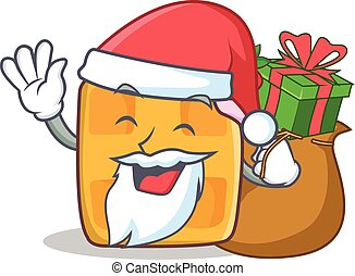 Santa waffle character cartoon design with gift