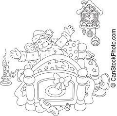 Santa waking up - Black and white vector illustration of...