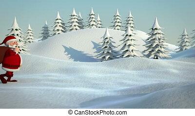 santa walking in snowy landscape