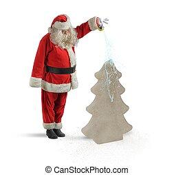 Santa watering a Christmas tree