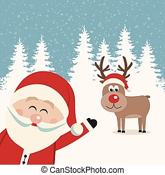 santa wave from side reindeer red nose winter landscape