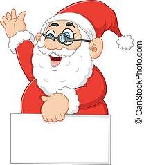 santa waving and holding blank sign