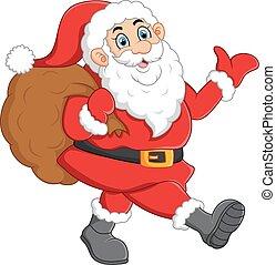 Santa waving and holding sack - vector illustration of Santa...