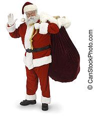 Santa Waving - Full Santa standing, waving at the camera on...