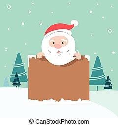 santa, weihnachten, abbildung, besitz, brett