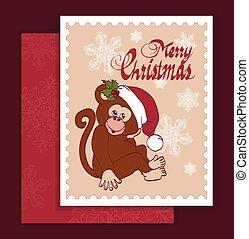 santa, weihnachten, grüßen karte, affe