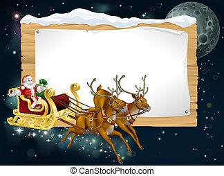 santa, weihnachtsschlitten, hintergrund