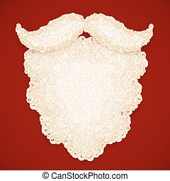 Santa white curly beard on dark red background