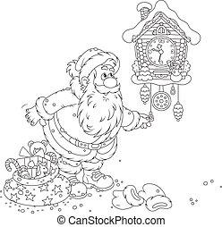 Santa winding up his cuckoo-clock - Black and white vector...