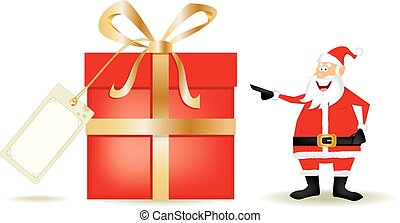 Santa with a big present - Draw of santa claus with a big...