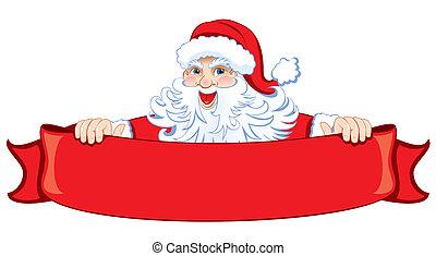 Santa with a festive red ribbon. Vector.