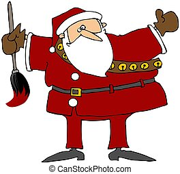 Santa With A Giant Paintbrush