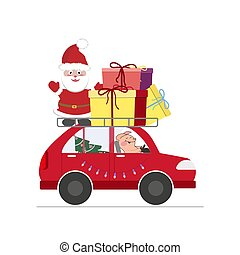 Santa with a piglet on the car with gifts and a Christmas tree.