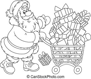 Santa with a shopping cart of gifts - Santa Claus going with...