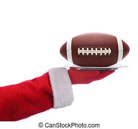 Santa with American Football Tray