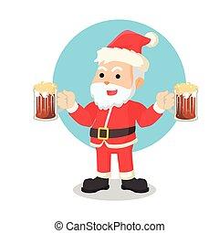 santa with beer illustration design