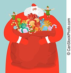 Santa with big bag of gifts. Red sack with toys and sweets. Christmas elf helpers. Character for new year. Postcard and poster for winter holiday. Fairy old man with large white beard and little assistant. Sackful present for kids