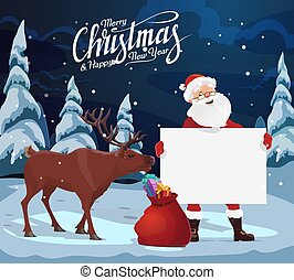 Santa with blank sign, Christmas gifts, reindeer