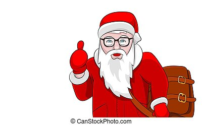 Santa with brown leather bag portrait isolated on white background Christmas template