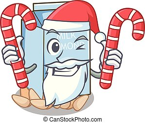 Santa with candy almond milk in the cartoon shape