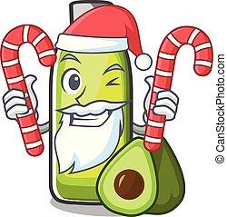 Santa with candy avocado oil in a cartoon bowl vector...