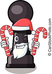 Santa with candy chess pawn on in the character vector ...