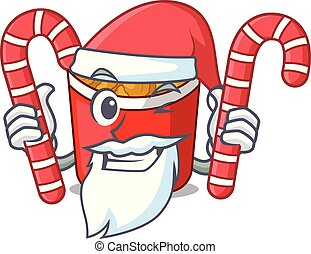Santa with candy chicken nuggets in a mascot bowl vector...