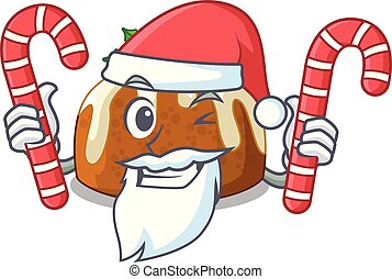 Santa with candy christmas pudding isolated on the mascot