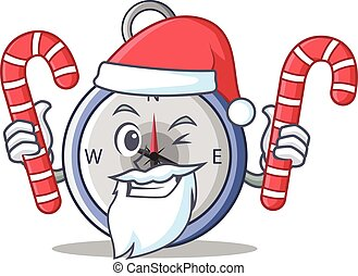 Santa with candy compass character cartoon style