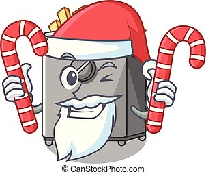 Santa with candy deep fryer machine isolated on mascot...