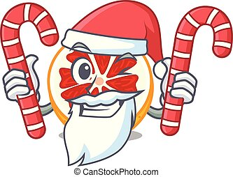 Santa with candy grapefruit in a mascot wooden bowl vector...