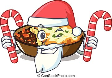 Santa with candy gratin is baked in cartoon oven