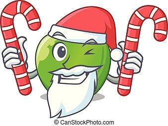 Santa with candy green smith apple isolated on cartoon...