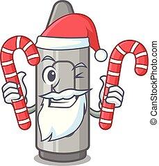 Santa with candy grey crayon in a bag cartoon