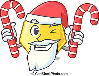Santa with candy heptagon stick on the cartoon door