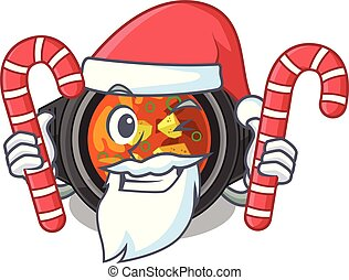 Santa with candy kimchi tighe above the cartoon table vector...