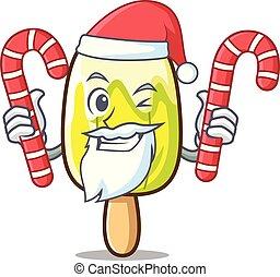 Santa with candy lemon ice cream mascot cartoon