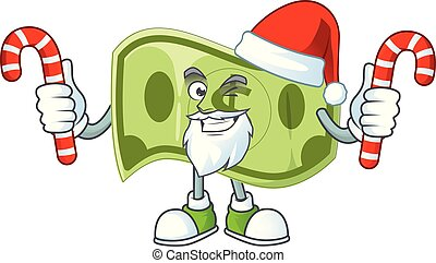 Santa with candy paper money dollar for price profit.