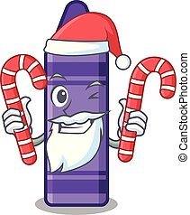 Santa with candy purple crayon in a mascot bag